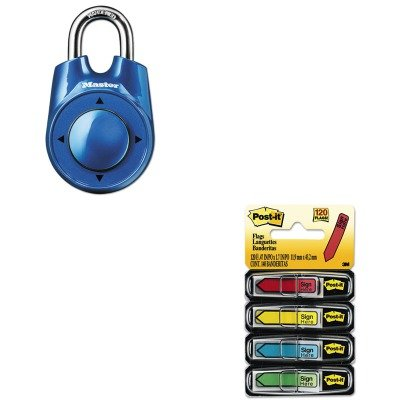KITMLK1500IDMMM684SH - Value Kit - Master Lock Speed Dial Set-Your-Own Combination Lock (MLK1500ID) and Post-it Arrow Message 1/2amp;quot; Flags (MMM684SH)
