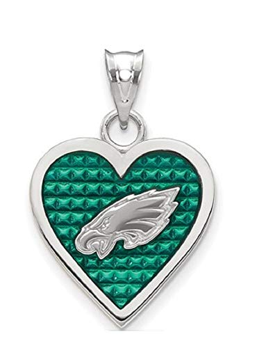 NFL Sterling Silver Philadelphia Eagles Enameled Heart Pendant