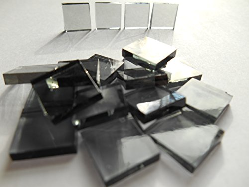 1/2 Mosaic Square Glass (FortySevenGems 100 Pieces Stained Glass Mosaic Tiles 1/2-Inch Gray Glass)