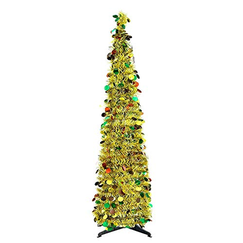 YuQi 5 Ft Pop Up Artificial Trees Collapsible with Stand 70% Reusable for Christmas,Party,Next New Year,Wedding,Seasonal Home Décor & Party(Golden Point)