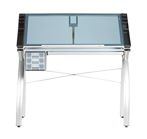 SD STUDIO DESIGNS Futura Modern Glass Top Adjustable Drafting Table Craft Table Drawing Desk Hobby Table Writing Desk Studio Desk with Drawers, 38''W x 24''D, Silver / Blue Tempered Glass ()