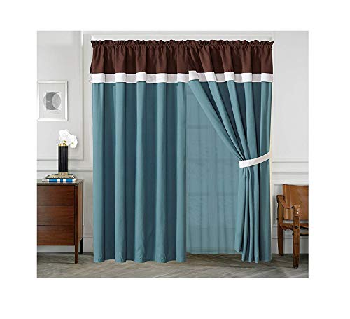 All American Collection New 4 Piece Curtain Set with Attached Sheer Backing (Brown/Turquoise) (Turquoise Rugs And Brown)