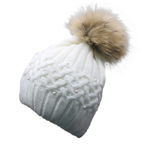 DEESEE Women Winter Pearl Crochet Hat Fur Wool Knit Beanie Warm Cap (White)