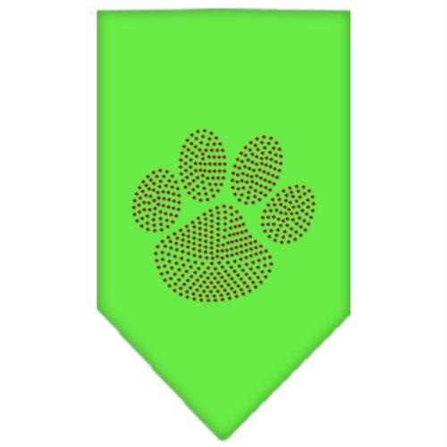 Mirage Pet Products Paw Red Rhinestone Bandana, Large, Lime Green