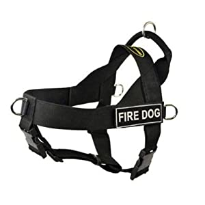 DT Universal No Pull Dog Harness, Fire Dog, Black, X-Small, Fits Girth Size: 21-Inch to 25-Inch