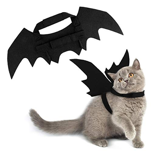 Pawaboo Cat Costume Bat Wings, Pet Cosplay Bat Wings Black with Hook and Loop Closure for Cats Small Dogs Puppy, Fancy Costumes Outfit Apparel Dress Up Accessory for Halloween,Christmas Parties