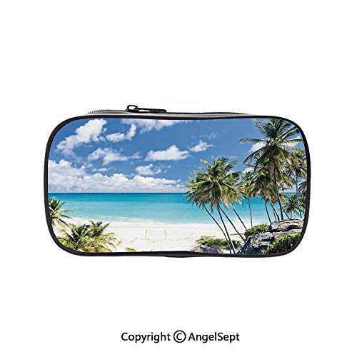Two Big Pockets for Executive Fountain Pen,Bottom Bay Barbados Beach Tropical Palms Ocean Holiday Paradise Coast Charm Picture Multicolor 5.1inches,Multi-Functional 72 Slots Colored Pencil Case ()