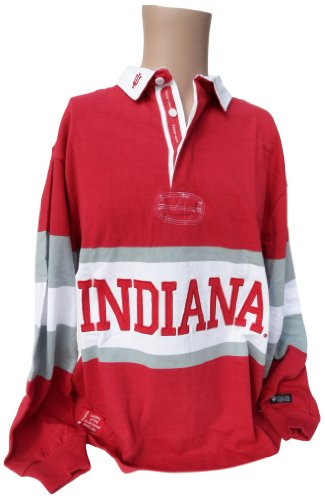 NCAA Indiana Hoosiers Men's Panel Rugby Shirt, Crimson White, X-Large
