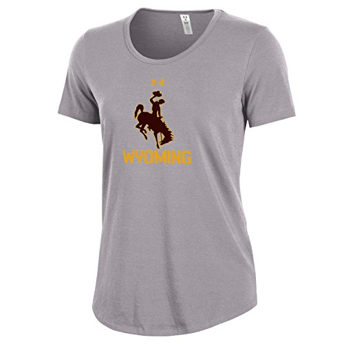 Under Armour NCAA Wyoming Cowboys Women's Short Sleeve Charged Cotton Tee, Small, Heather Gray