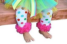 Ruffled Rainbow Polka Dot Legwarmers