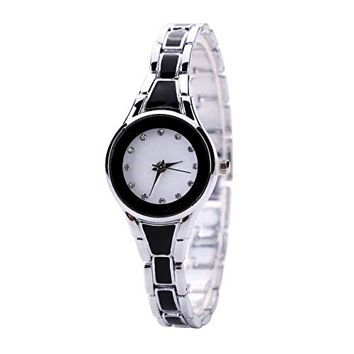 Yevison Women Watch Analogue Quartz Movement Wrist Watches with Alloy Armband Crystal Accents Chain Watches Black Dial with Button Battery Silver Durable and Practical