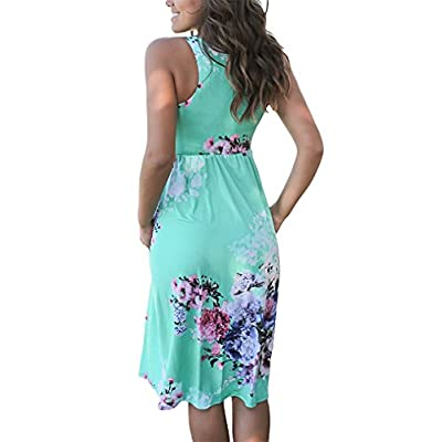 OURS Womens Summer Sleeveless Floral Print Racerback Midi Dresses with Pocket at Women's Clothing store