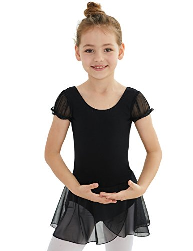 MdnMd Dance Leotard for Little Girls with Puff Sleeve (Black, Age 4-6,Height 44-49