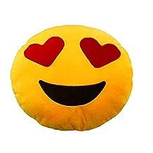 "12.5"" Heart Eyes Round Emoji Smiley Pillows Plush Soft Toy Yellow by ZeroShop(TM)"