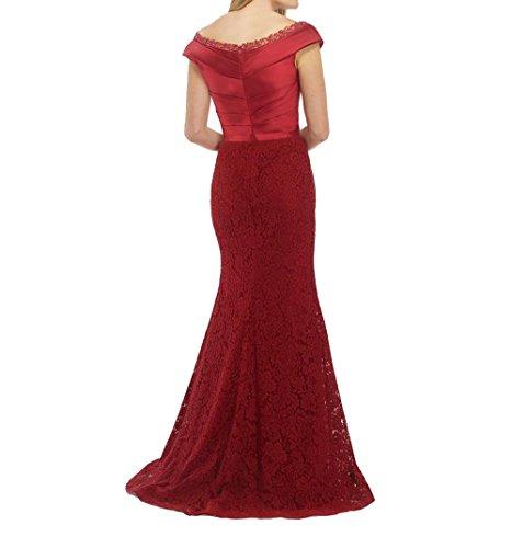 Ausschnitt Abiballkleider Lang Brau Etuikleider Dunkel La Promkleider Spitze 2018 Rot Brautmutterkleider mia V Abschlussballkleider xP58wXq