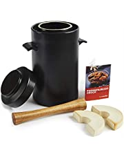 HomeBuddy Fermentation Crock with Weights - 1 Gallon Ceramic Sauerkraut Crock with Fermention Weights and Lid - Works Well as Onggi Kimchi Pot, Pickling Crock or Sourdough Crock