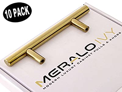 "(10 PACK) Meralo Ivy SOLID Stainless Steel Brushed Brass Cabinet Pulls - 3"" Center Holes – Modern Hardware Handles for Kitchen or Bathroom Drawers - Includes 40mm and 25mm Screws"