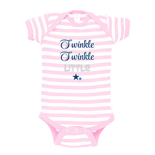 Cute Rascals Twinkle Twinkle Little Star Baby Kid Stripe Fine Jersey Bodysuit Soft Pink 6 Months