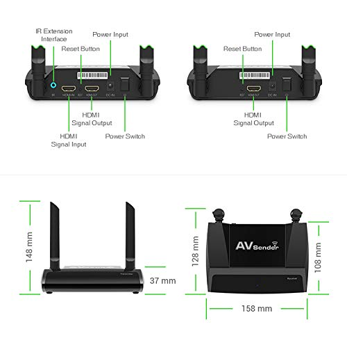 Wireless HDMI Transmitter and Receiver -TRM245 HD Extender Kit -2.4/5GHz Sender Isolated WiFi -1080P Video/Audio/IR Remote Signal Range Extension for Cable Box/Computer/PC-Projector/Monitor/TV Display by Tupavco (Image #6)