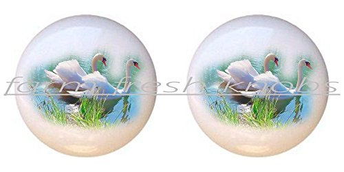 White Swan Pull - SET OF 2 KNOBS - White Swan - Swans - DECORATIVE Glossy CERAMIC Cupboard Cabinet PULLS Dresser Drawer KNOBS