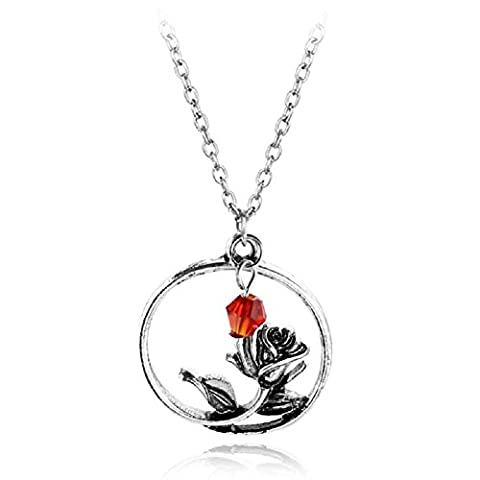 FangLanz Women's Pendant Rose Necklace Princess Rose alloy jewelry (Beast Jewelry)