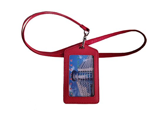 Blue Holder ID Unisex Leather Aiklin Dark Strap Red Neck Neck Badge Wallet with YIdPqBqwx