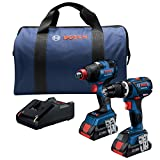 Bosch GXL18V-251B25 18V 2-Tool Combo Kit with Freak 1/4 In. and 1/2 In. Two-In-One Impact Driver, Compact Tough 1/2 In. Hammer Drill/Driver and (2) CORE18V 4.0 Ah Batteries