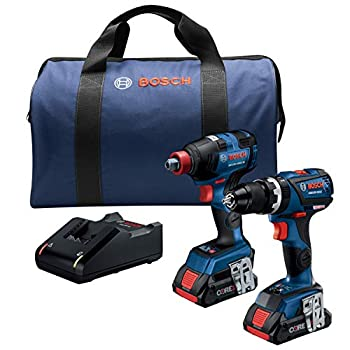 Image of Bosch GXL18V-251B25 18V 2-Tool Combo Kit with Freak 1/4 In. and 1/2 In. Two-In-One Impact Driver, Compact Tough 1/2 In. Hammer Drill/Driver and (2) CORE18V 4.0 Ah Batteries