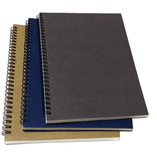 B5 Spiral Notebook/Spiral Journal, Elastic Cover Spiral Ruled Notebook with Lined Pages, 3 Notebooks Per Pack/Total 180 Sheets (360 Pages), 10.5