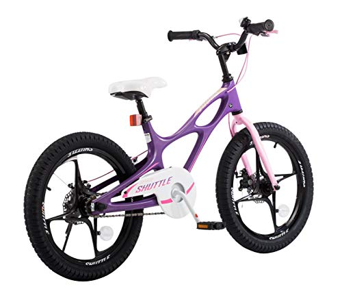 RoyalbabySpace Shuttle Lightweight Magnesium Kid's Bike with Disc Brakes for Boys and Girls, 18 inch with Kickstand, Lilac by Royalbaby (Image #3)
