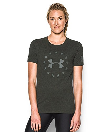 Under Armour Women's Freedom Logo Short Sleeve, Artillery Green/Mossy Taupe, Medium
