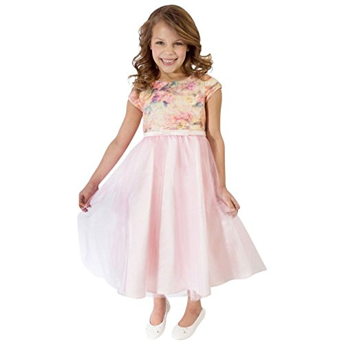 Floral Short Sleeve Tulle Flower Girl/Communion Dress Style 689UA, Blush, 2T (Dress Style Peony Bride)
