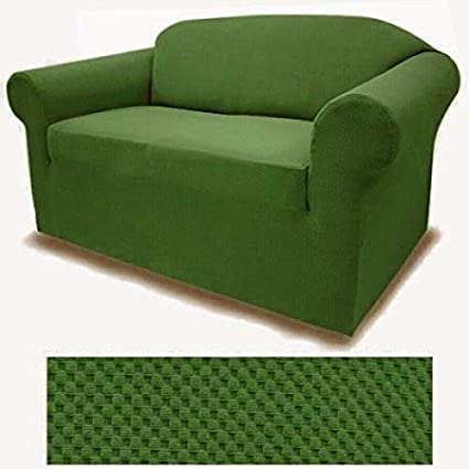 Jersey Stretch Solid Dark GREEN Slipcover Set - Sofa cover, Loveseat Cover  and Arm Chair Cover included