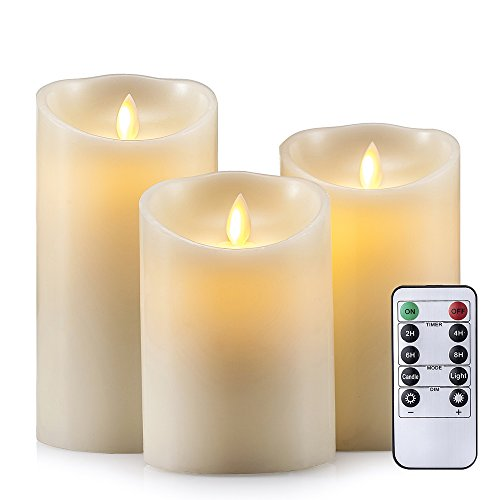 AIR ZUKER Flameless Candles Super-Long Battery Life Dancing Flame Wax Pillar LED Candle with Timer and 10-Key Remote, 300 Hours Lighting, C-Cell Battery[not-Included], Height 5 6 7, 3 Pieces