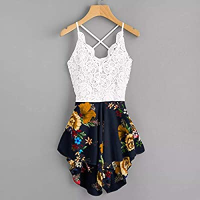 Women Summer Shorts Jumpsuit, Crochet Lace Bow Tie Florals Romper Overalls: Clothing