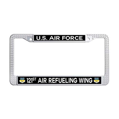 US Air Force 121st Air Refueling Wing License Plate Frame,White Rhinestones License Cover Holder ()