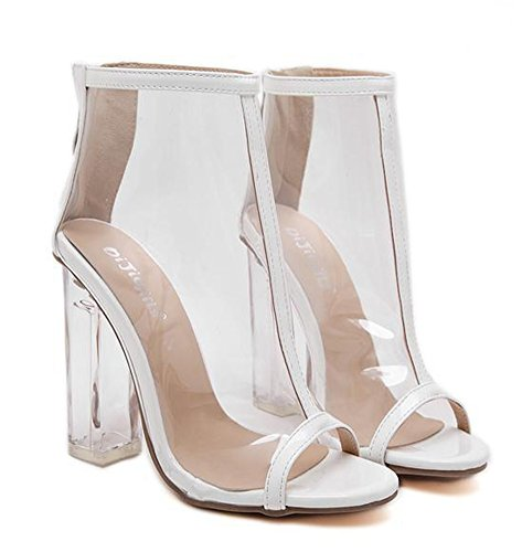 Sandales Mode Haut Blanc Femme Transparent Bloc Talon Aisun YHP4wxq