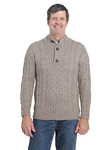 Incredible Natural Creations from Alpaca - INCA Brands Cable 3-Button Neck Pullover (Heather, XXLarge) by Incredible Natural Creations from Alpaca - INCA Brands