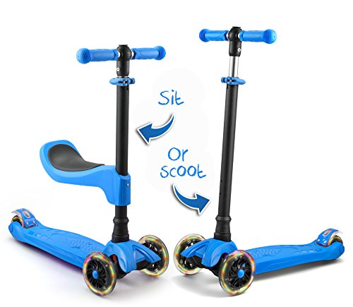 LaScoota scooter for kids scooters 3 wheeled scooter 3 wheel scooter for kids ages 6-12 (Blue)