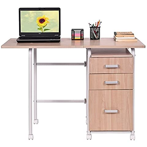 Folding Computer Laptop Notebook Desk With 3 Drawers Foldable Design Home Office Furniture Work Station Easy Movement With 4 Wheels Free Standing Portable Desk