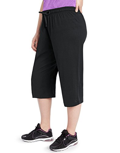 - Champion Women's Plus-Size Jersey Capri, Black, 2X