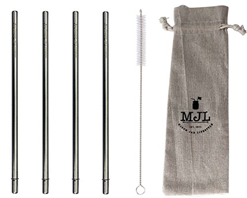 Long Safer Rounded End Stainless Steel Metal Straws for Large Cups, Tall Glasses, or Quart Mason Jars (4 Pack + Cleaning Brush + ()