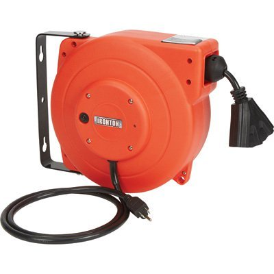 Ironton Retractable Cord Reel - 40-Ft, 12/3, Triple Tap