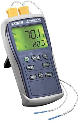 B00023RXEG Extech EA10 EasyView -200 Degrees to 1999 Degrees Farenheit and -200 Degree to 1360 Degree Celsius Dual Input Thermometer with 2 Type K Probes 41NKRW0BCBL.