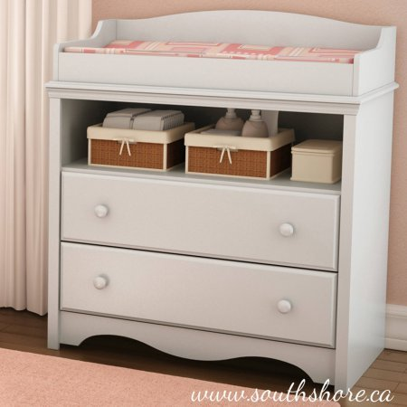 South Shore Angel Changing Table with Drawers - Metal Drawer Slides - Table French Provincial Coffee