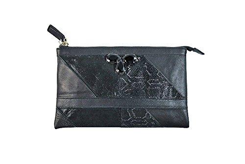Borsa donna Collezione Argento Antico by Laino Industry fashion accessories - Borsa in pelle con accessorio gioiello
