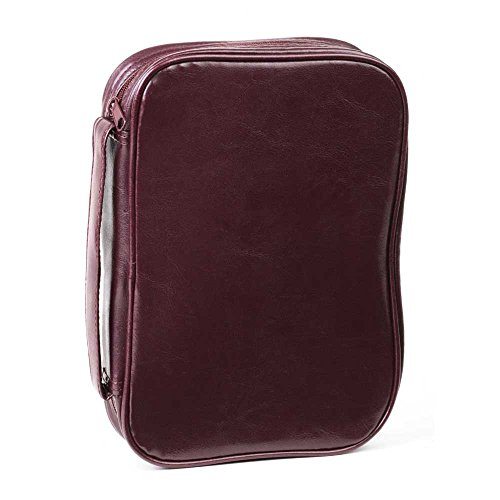 Burgundy Leatherette Bible Cover Case with Handle, 2X-Large