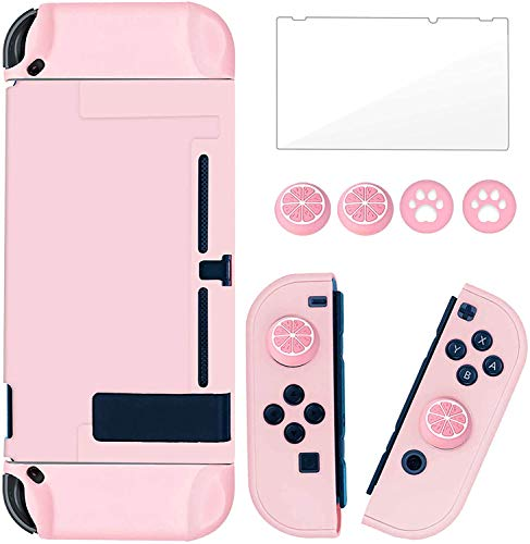 Dockable Switch Protective Case Cover for Nintendo Switch Joy-Con Controllers with Glass Screen Protector, Anti-Scratch Shock-Absorption Grip Cover-Pink