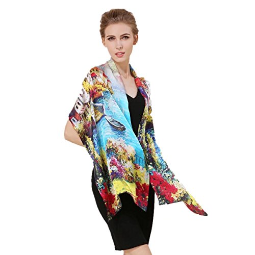 Women's 100% Charmeuse Mulberry Silk Long Scarf For Gift Hair Ladies Shawls Floral And Butterfly - Floral Beautiful Scarf