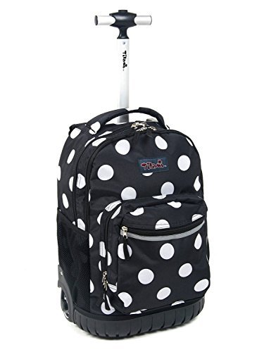 Tilami New Antifouling Design 18 Inch Human Engineering Design Laptop Wheeled Rolling Backpack Luggage for Girls (Black White Dot)